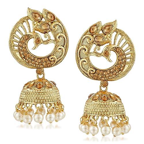 dbe3837e03c05e Buy Meenaz Jewellery Set Gold Pearl Stylish Fancy Party Wear Peacock Jhumka/Jhumki  Earrings for Women Traditional Earrings for Girls-Jhumki earrings-274 ...