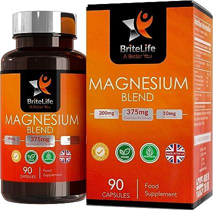 Fórmula de Magnesio - 375 mg de Britelife | Con Citrato, Glicinato y Malato de