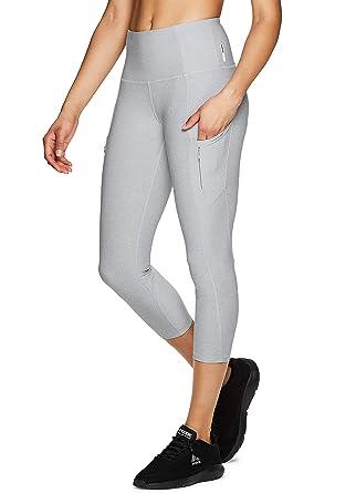 4ec43a9a286f9 RBX Active Women s Dual Zipper Pocket Workout Yoga Capri Leggings S.19 Grey  S