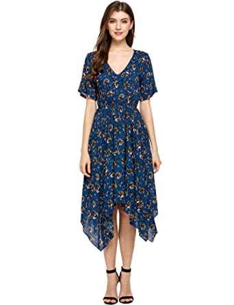 5b2fdd62c0eb Meaneor Women s Boho Floral Print Deep V Neck Casual Hem Tunic Dress Midi  Dress(Blue