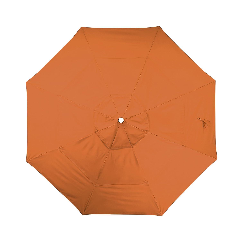 California Umbrella 11 Round Aluminum Fiberglass Umbrella, Pulley Lift, Bronze Pole, Pacifica Tuscan Fabric