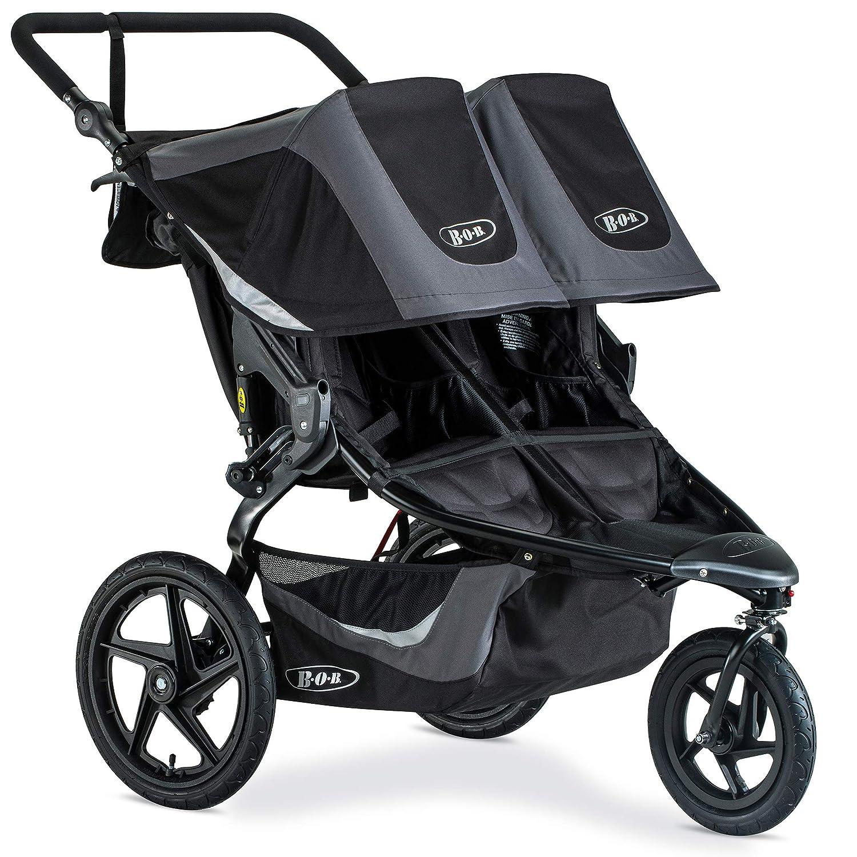 BOB Revolution Flex 3.0 Duallie Jogging Stroller – Up to 100 Pounds – UPF 50 Canopy – Adjustable Handlebar – Easy Fold, Graphite Black