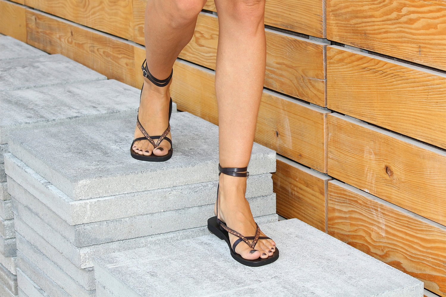 22707373c672 Double Ankle Strap Leather Sandals