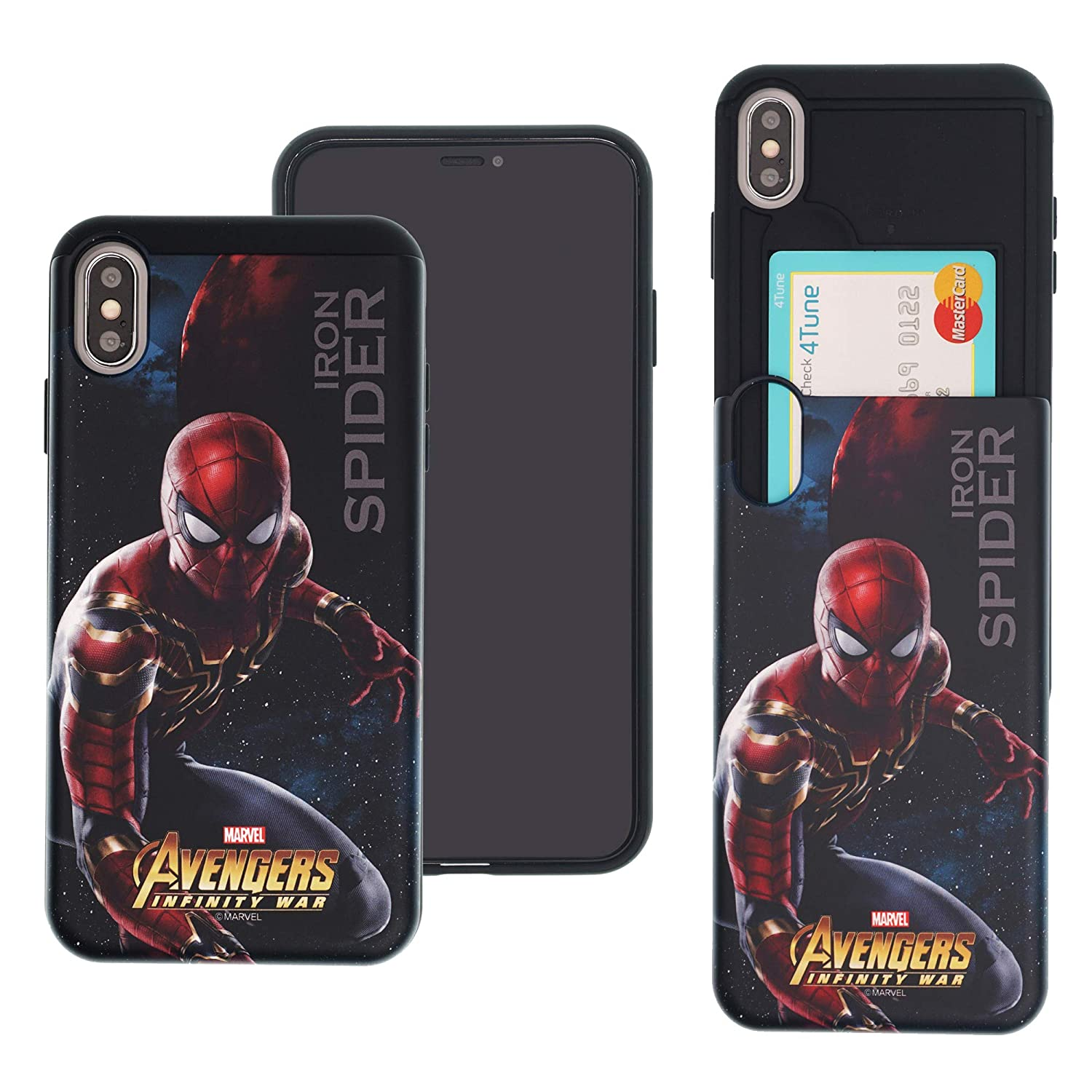 buy popular 387e8 2aa17 iPhone Xs Max Case Marvel Avengers Infinity War Slim Slider Cover : Card  Slot Shock Absorption Dual Layer Holder Bumper for [ iPhone Xs Max ] Case -  ...