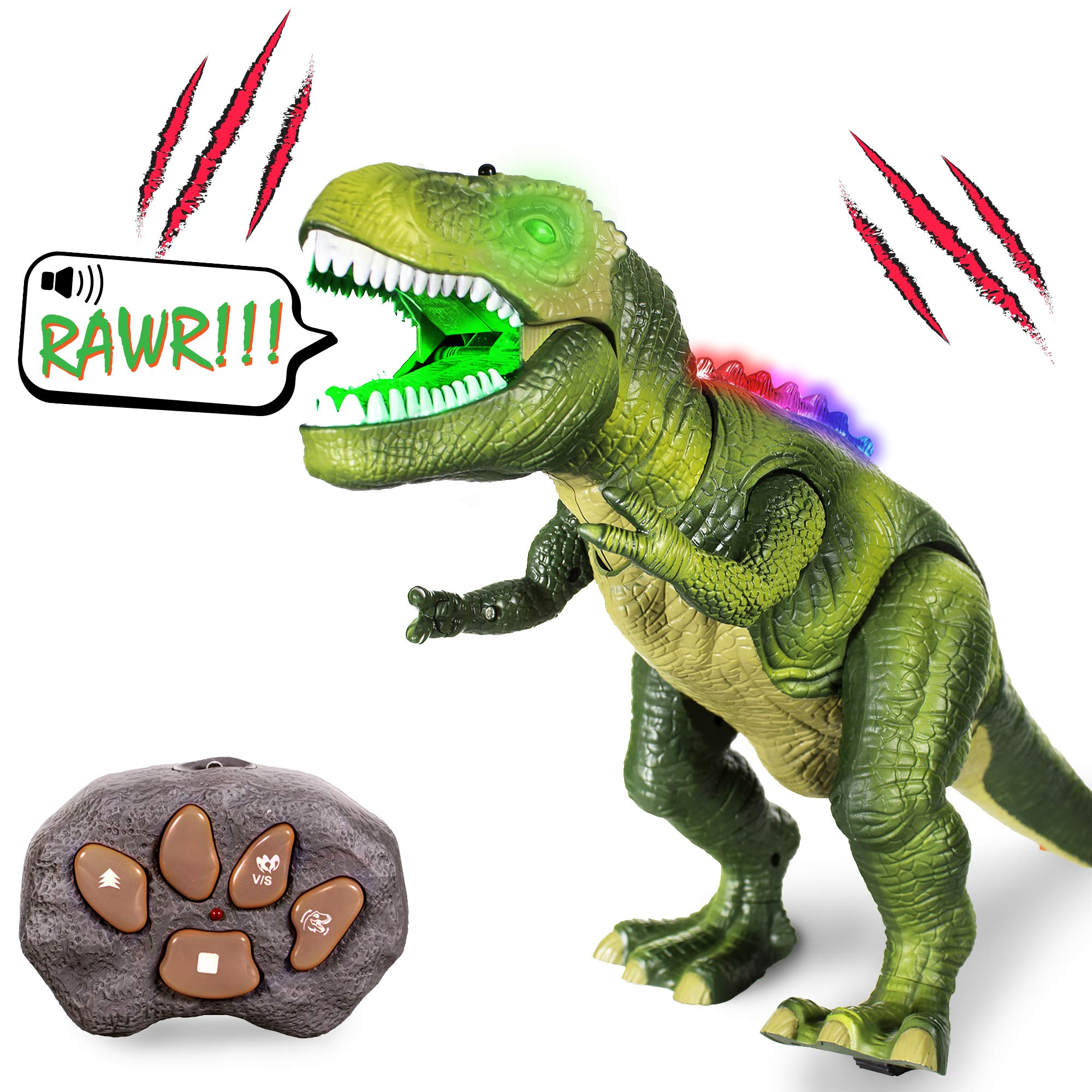 Windy City Novelties Led Light-Up Walking & Roaring T-Rex Dinosaur Toys for Boys & Girls (T-Rex with Remote) by Windy City Novelties (Image #1)