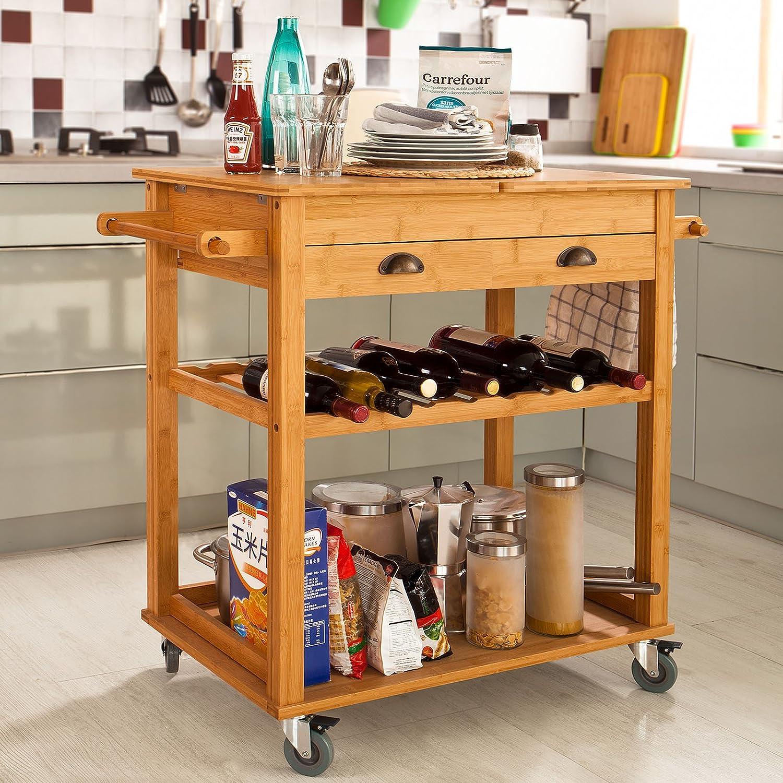 SoBuy® Carrito para servir de almacenamiento de cocina de bambú XXL con plegable Wotktop, L80 x W50 x H92 cm, naturaleza, FKW08-N: Amazon.es: Hogar