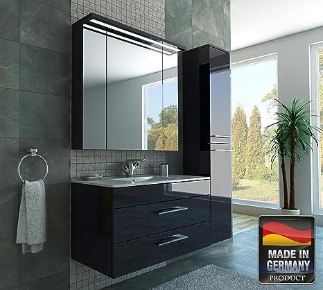 MISPA© Badezimmer Badmöbel-Komplett-Set inklusive Hochschrank,  Anthrazit/Hochglanz - 100cm, LED-Beleuchtung, Softclose-Technologie,  Waschbecken, ...