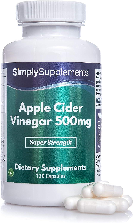 Vinagre de manzana 500 mg - ¡Bote para 2 meses! - Apto para veganos - 120 Cápsulas - SimplySupplements