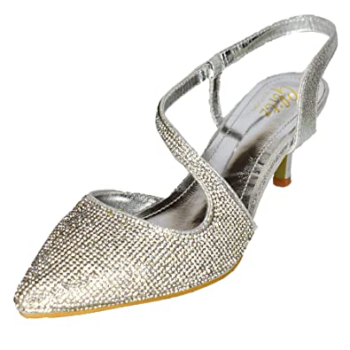 83176a16bc Ladies Diamante Pointed Toe Low Heel Evening Shoes Strappy Slingback Shoe  Size[UK 7,