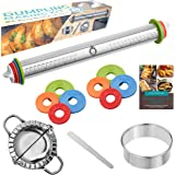 Dumpling Maker Set Includes Rolling Pin With Thickness Rings, Dumpling Press, Dumpling Maker, And Dumpling Cutter…