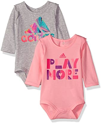 Adidas Baby Girls Logo Body Shirt Set  Pack Gray Pink