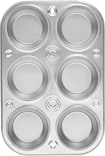product image for EZ Baker Steel 6-Cup Muffin Pan - American-Made, Natural Baking Surface that Heats Evenly for Perfect Baking Results