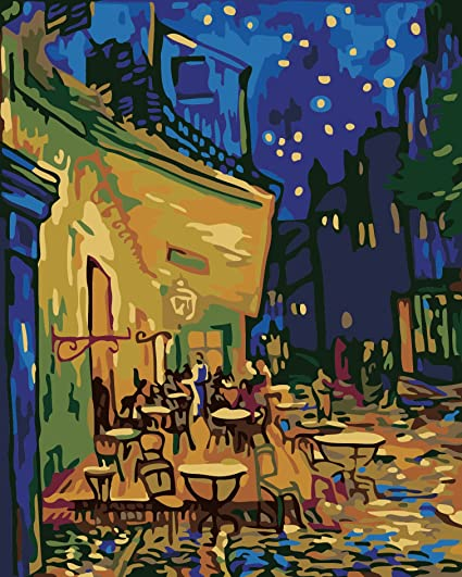 Bright Diy Painting By Numbers Canvas Painting By Numbers Picture Coloring On Canvas Wall Painting Vincent Van Gogh Night Coffee Shop Home Decor