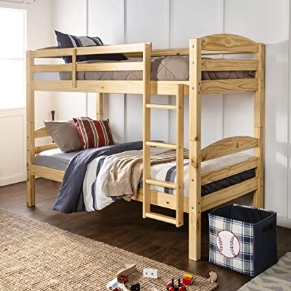 WE Furniture Classic Wood Twin Bunk Kids Bed Bedroom, Natural