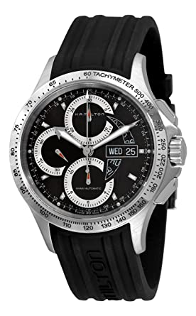 92fb126f2 Image Unavailable. Image not available for. Colour: Hamilton Men's  H64616331 Khaki King Black Chronograph Dial Watch