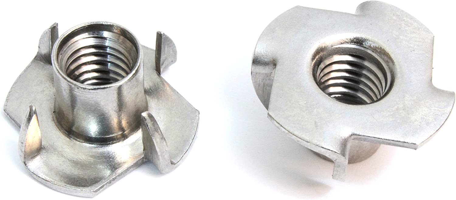 """Stainless T-Nuts 3/8""""-16 Inch (25 Pack), Threaded Insert, 304 (18-8) Stainless Steel, Choose Size/Quantity, by Bolt Dropper, Pronged Tee Nut. for Wood, Rock Climbing Holds, (3/8""""-16 x 7/16"""")"""