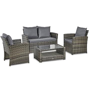 vonhaus premium 4 piece rattan sofa set comfortable cushioned