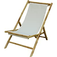Zew Handmade Foldable Bamboo Lawn Sling Chair with Treated Canvas, 37″ L x 24″ W x 33″ H, White
