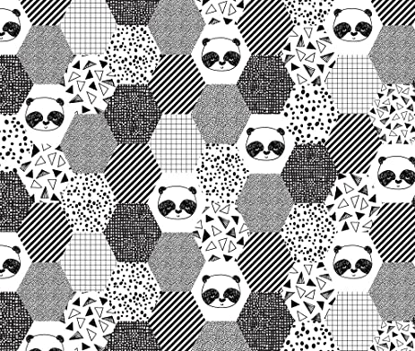 Hexagon fabric panda hexagon quilt fabric black and white hexagon cheater quilt fabric for trendy
