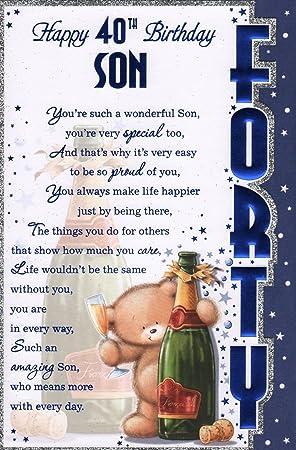 Son`s 40th Birthday Card   'Happy 40th Birthday Son'   Great