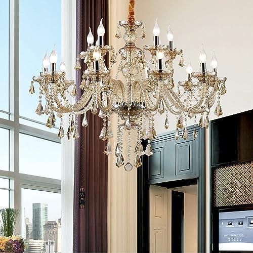 Ridgeyard Cognac Shampane Color E12 15 Ligths Crystal Candle Style Chandelier Ceiling Lighting Pendant Luxury Romantic Lamp