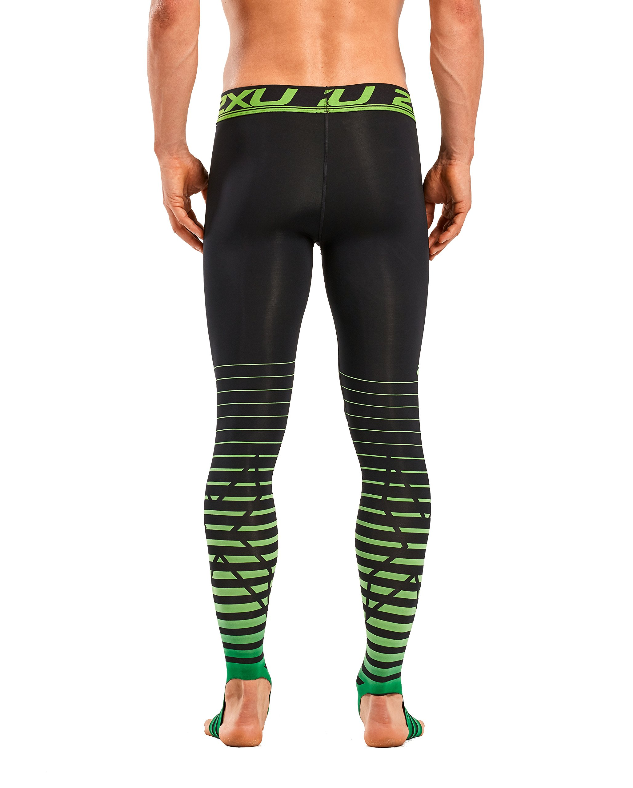 2XU Men's Elite Power Recovery Compression Tights, Black/Green, Small by 2XU (Image #3)
