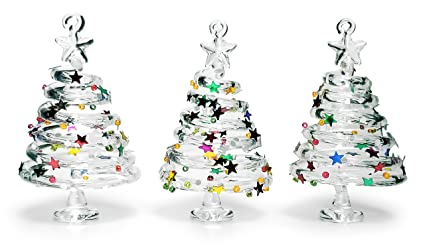 banberry designs glass christmas tree ornaments set of 3 swirl glass trees with confetti glitter - Christmas Decoration Sets