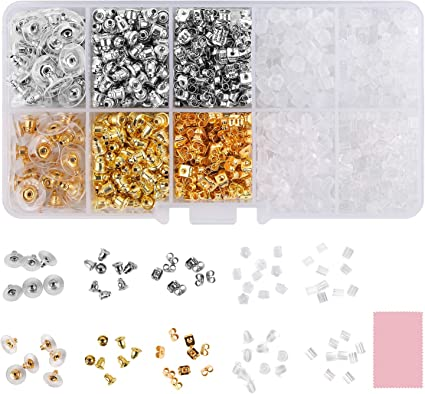 54 Pieces Silver Silicone Earring Backs Rubber Soft Clear Earring Backs Safety Replacements Earring Backs for Studs 3 Colors