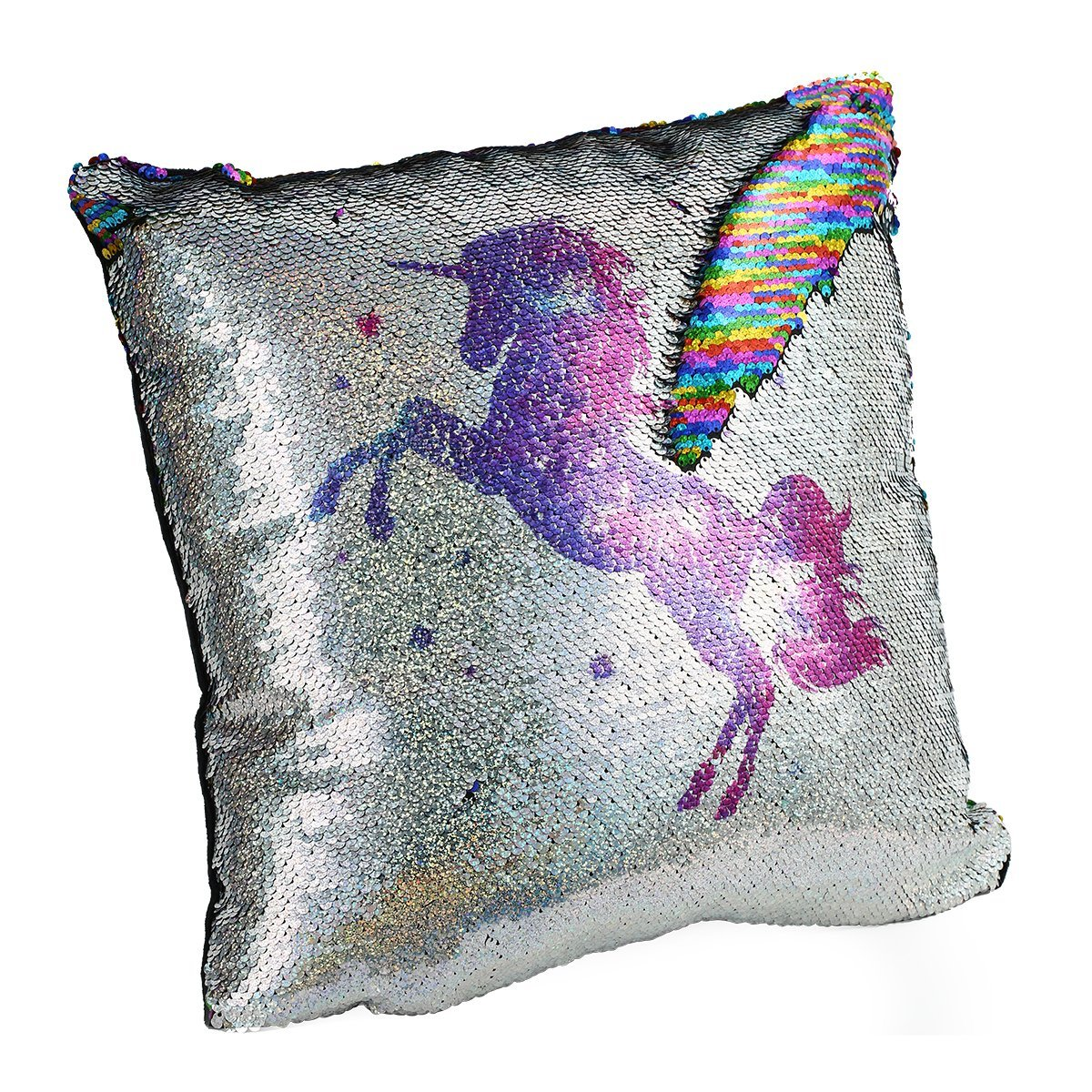 meowtastic Sequin Decorative Throw Pillow Unicorn Rainbow Reversible Sequin Pillow with Insert 16 by 16 Inches