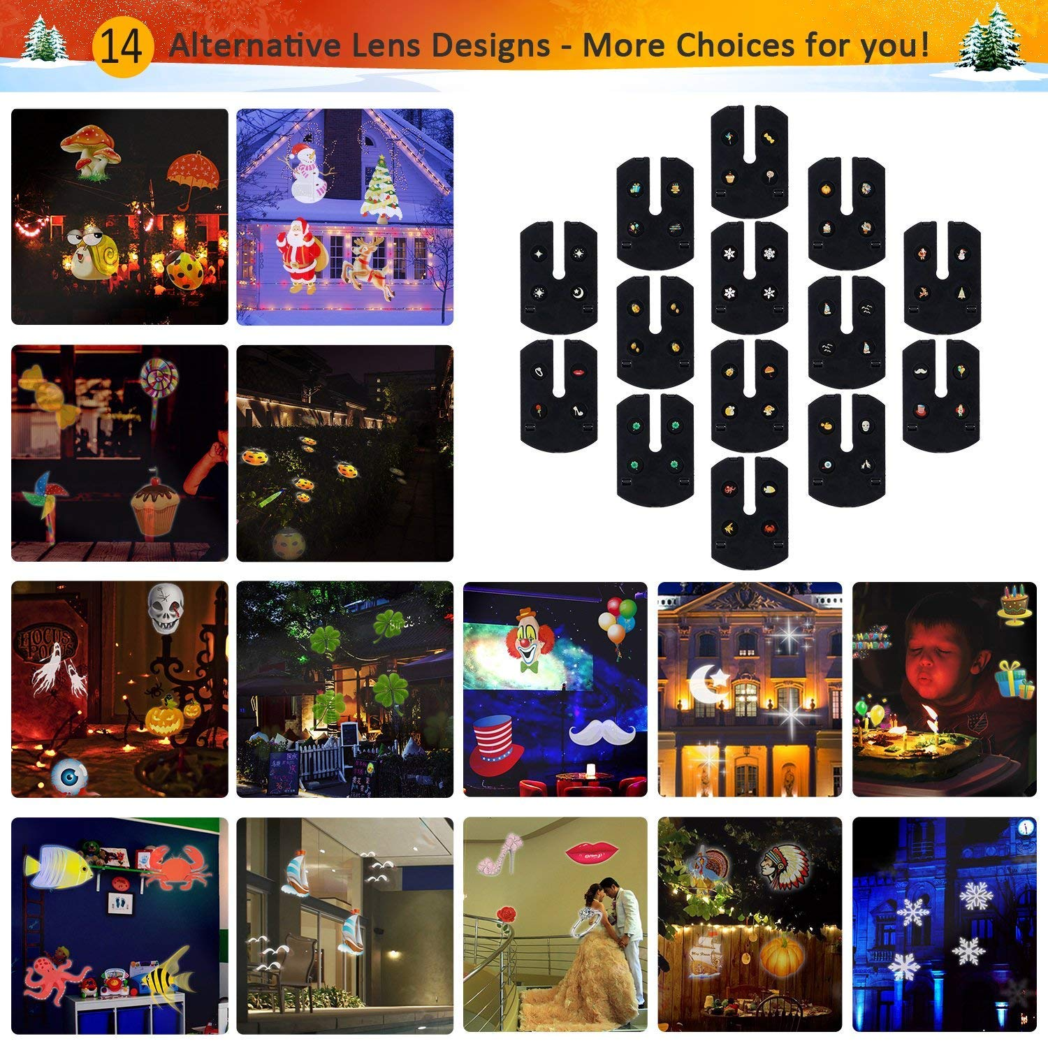 Christmas LED Projector Light, Outdoor Waterproof High Brightness Light Show with 32ft Cable & Remote Control for Christmas, Party and Holiday Decorations (16 Patterns) by Tunnkit (Image #2)
