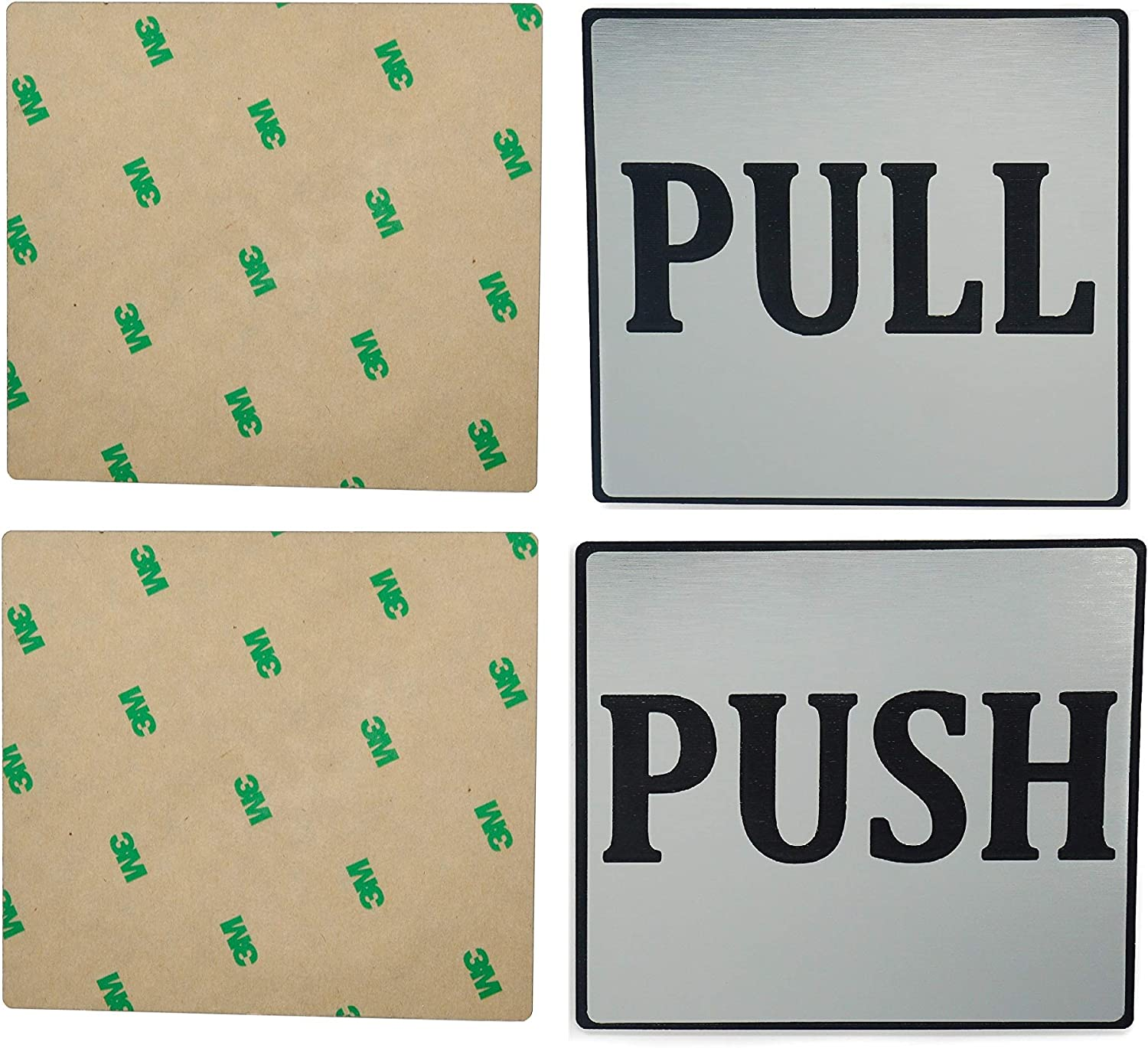 2 Signs Push Pull Door Sign 4x3.6 Indoor and Outdoor Brushed Silver Sign Adhesive