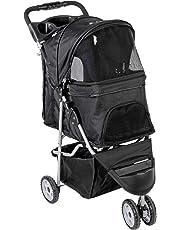 VIVO Black 3 Wheel Pet Stroller for Cat, Dog and More, Fordable Carrier Strolling Cart (STROLR-V003K)