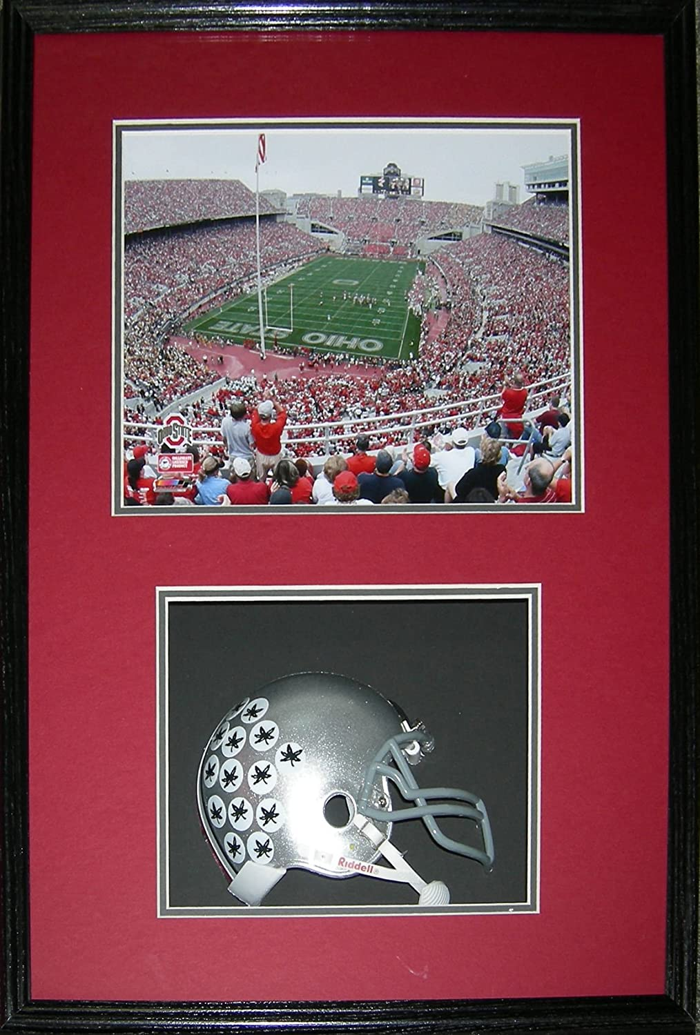 Ohio State Horseshoe Stadium and Helmet Framed Picture Shadowbox