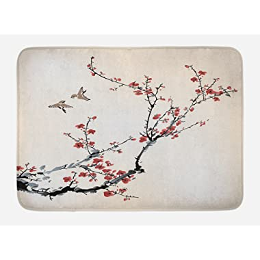 Ambesonne Nature Bath Mat, Cherry Branches Flowers Buds and Birds Asian Style Artwork with Painting Effect, Plush Bathroom Decor Mat with Non Slip Backing, 29.5 W X 17.5 W Inches, Black Burgundy