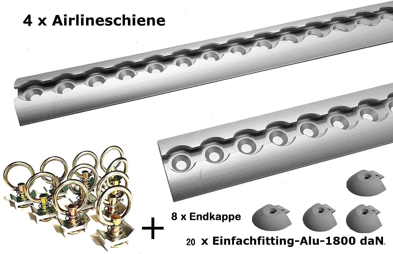 4x 2m aluminium imité Rail–Rail demi-lune ronds avec trous 2m 1975mm–Starter Set d'arrimage avec 20x aluminium Fitting