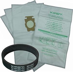 Genuine Kirby Avalir Microfiber Allergen Reduction Bags 204811 (6Pk) C/W FREE BELT