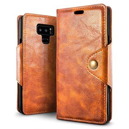 SLEO Funda para Samsung Galaxy Note 9, Carcasa Piel PU Suave de Negocio Profesional Billetera Soporte Plegable Flip Case del Tirón para Samsung Galaxy ...