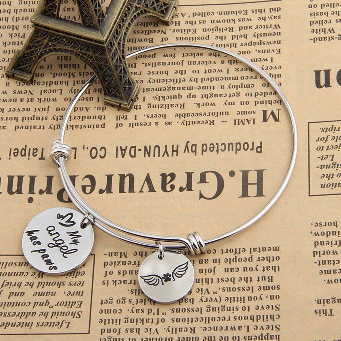 Zuo Bao Pet Memorial Jewelry My Angel Has Paws Bracelet Angel Paw Print Charm Bracelet for Dog Lovers