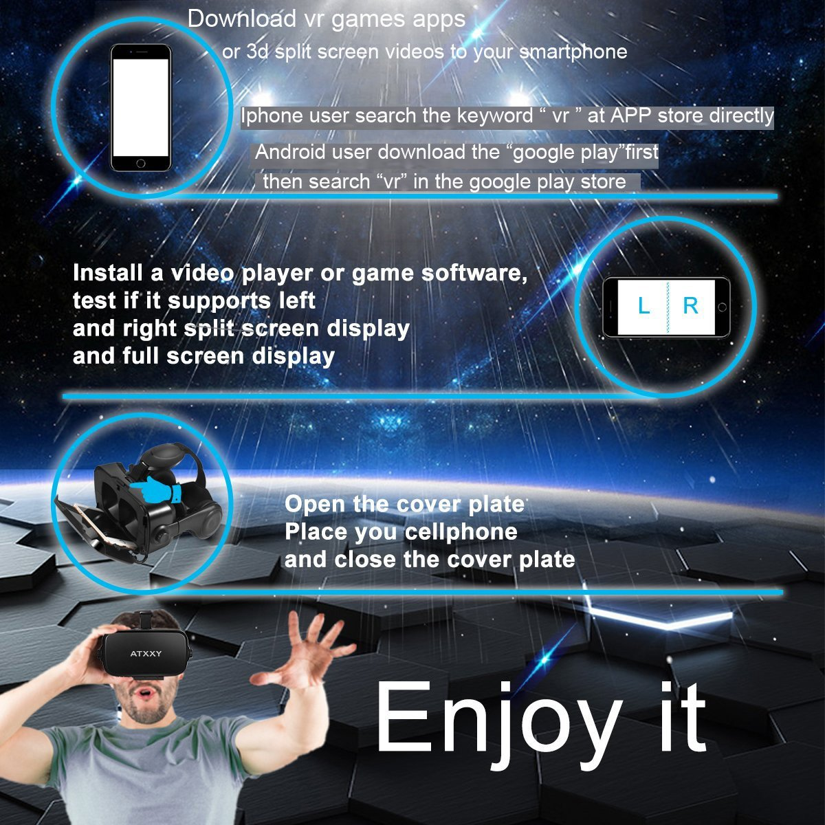 ATXXY VR Headset with Remote Controller 3D VR Glasses Virtual Reality Headset with Stereo Headphone and Adjustable Headstrap for 3D Movies & VR Games, Fit for 4.0-6.4 inch IOS/Android Smartphone by ATXXY (Image #6)