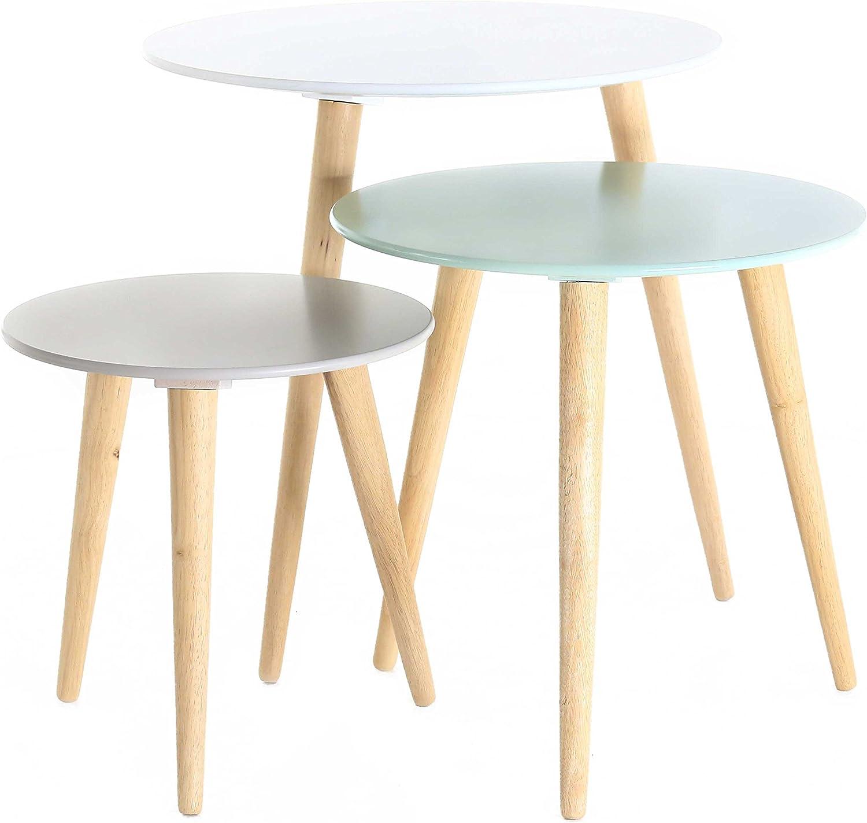 Lot de 7 Tables Gigognes Ronde en Bois MDF Blanc Gris Bleue Pastel Style  Scandinave