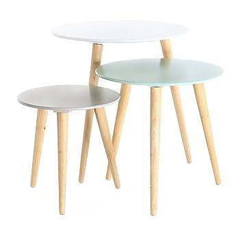 3x Table Gigogne Ronde En Bois Colore Stockholm
