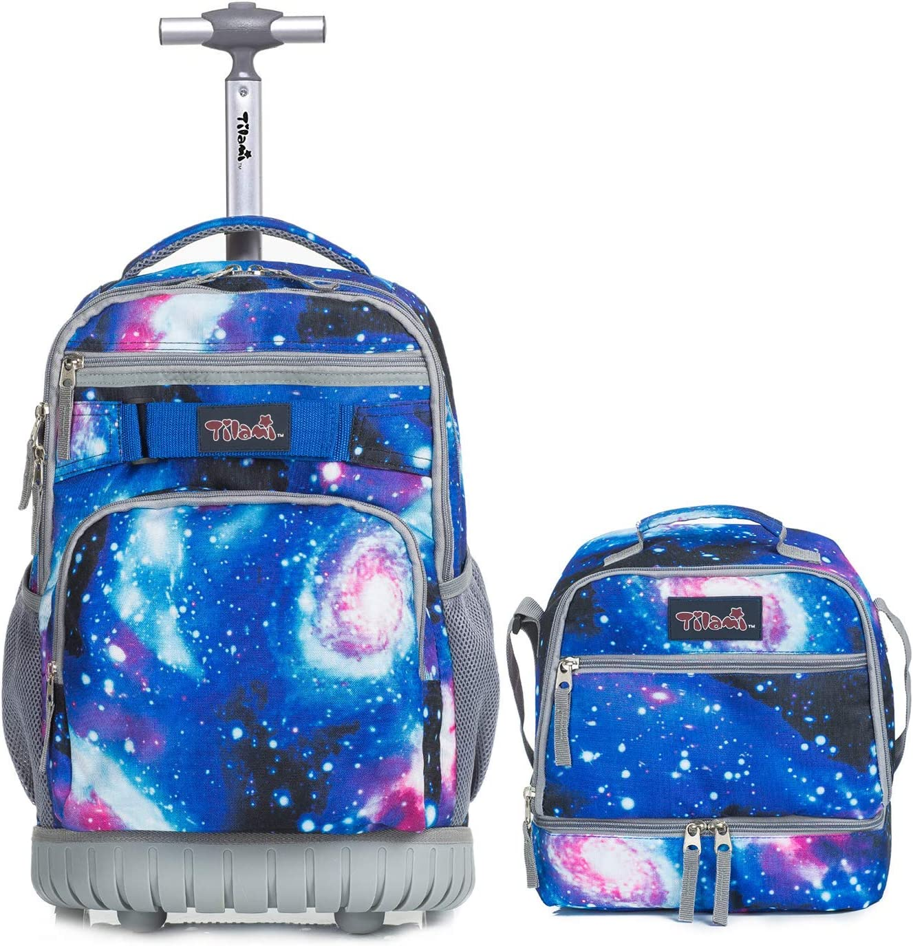 Tilami Rolling Backpack 19 inch with Lunch Bag Wheeled Laptop Backpack, Galaxy
