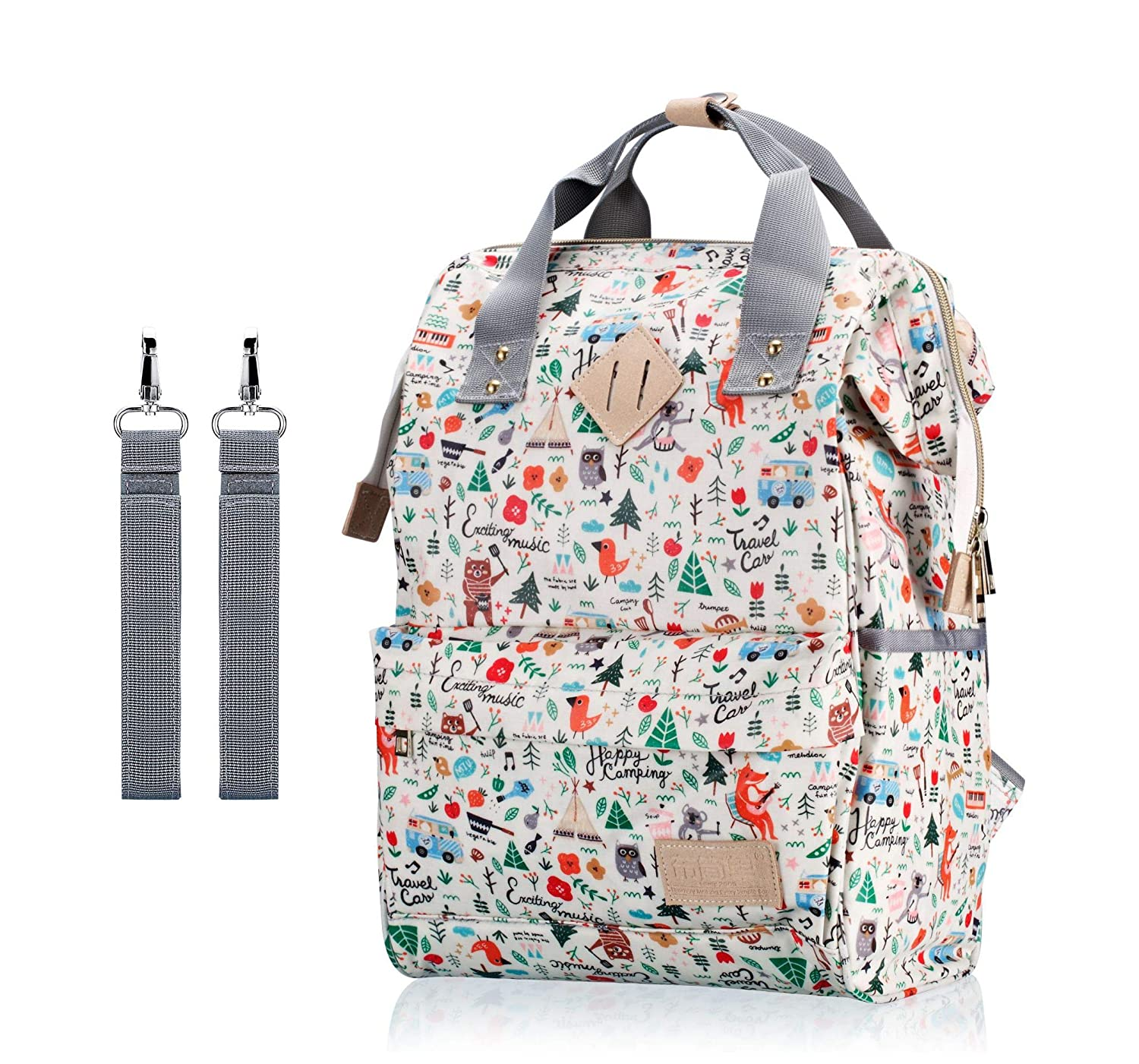 Diaper Bag Backpack, IHONEY Waterproof Cute Design Diaper Tote for Boys and Girls with Stroller Straps HH I HONEY DZSM-1087