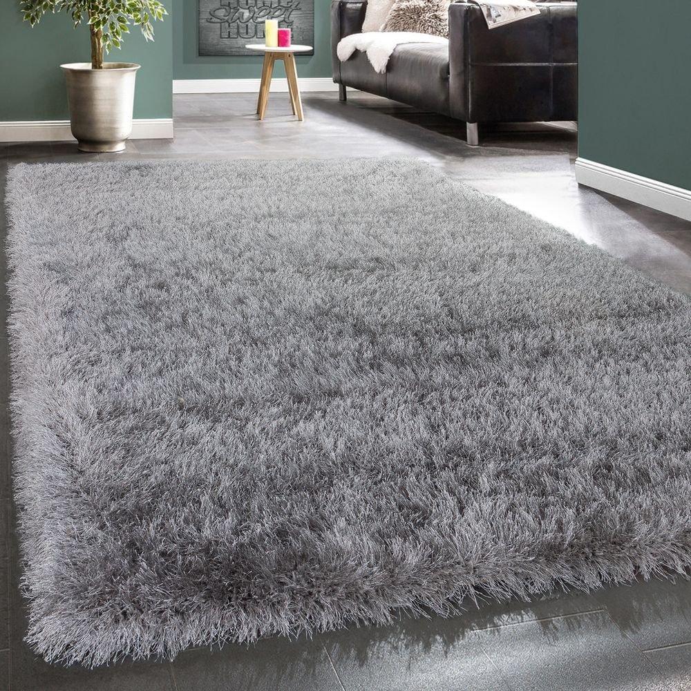 Paco Home Moderner Wohnzimmer Shaggy Hochflor Teppich Soft Garn In Uni Hellgrau Grau, Grösse 200x290 cm