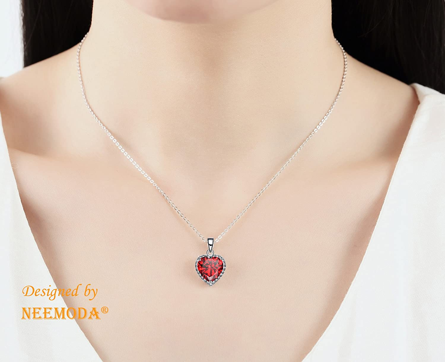 NEEMODA Shining Love Hand-Inlaid 5A Cubic Zirconia Heart Necklace with Luxury Gift Box, 18 inches 2 inches Triple White Gold Plated Chain