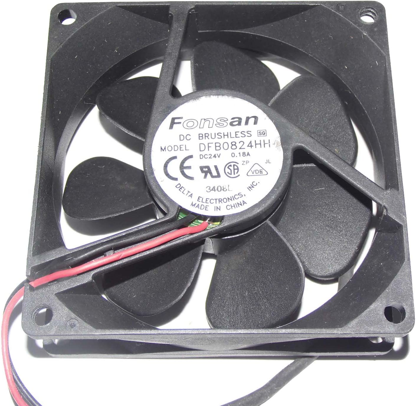For 1 PC FONSAN DFB0824HH Fan 80*80*25mm 2 Pin 24V 0.18A