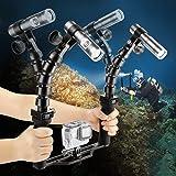 SHOOT Underwater 100M Torch Flex Arm Brazo de dos brazos 900LM Diving Flash Lights para GoPro SJCAM Xiaomi Yi Action Camera con brazos flexibles y bandeja de base