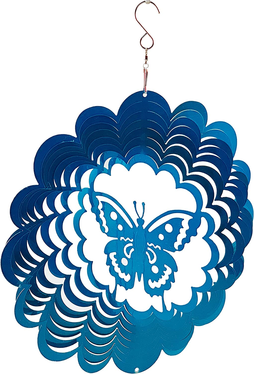 Dundee Deco W1204 Wind Spinner in Gift Box - 3D Hanging Indoor Outdoor Yard Garden Decoration - Mandala - Butterfly - Blue - 12 inch - Unique Gift Idea for Men Women, Souvenir, Present