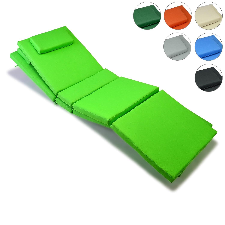 Nexos GL06022_SL2 Divero 2-er Set Liegen-Auflage Kopfkissen für Sauna Garten Terrasse hochwertig hellgrün,
