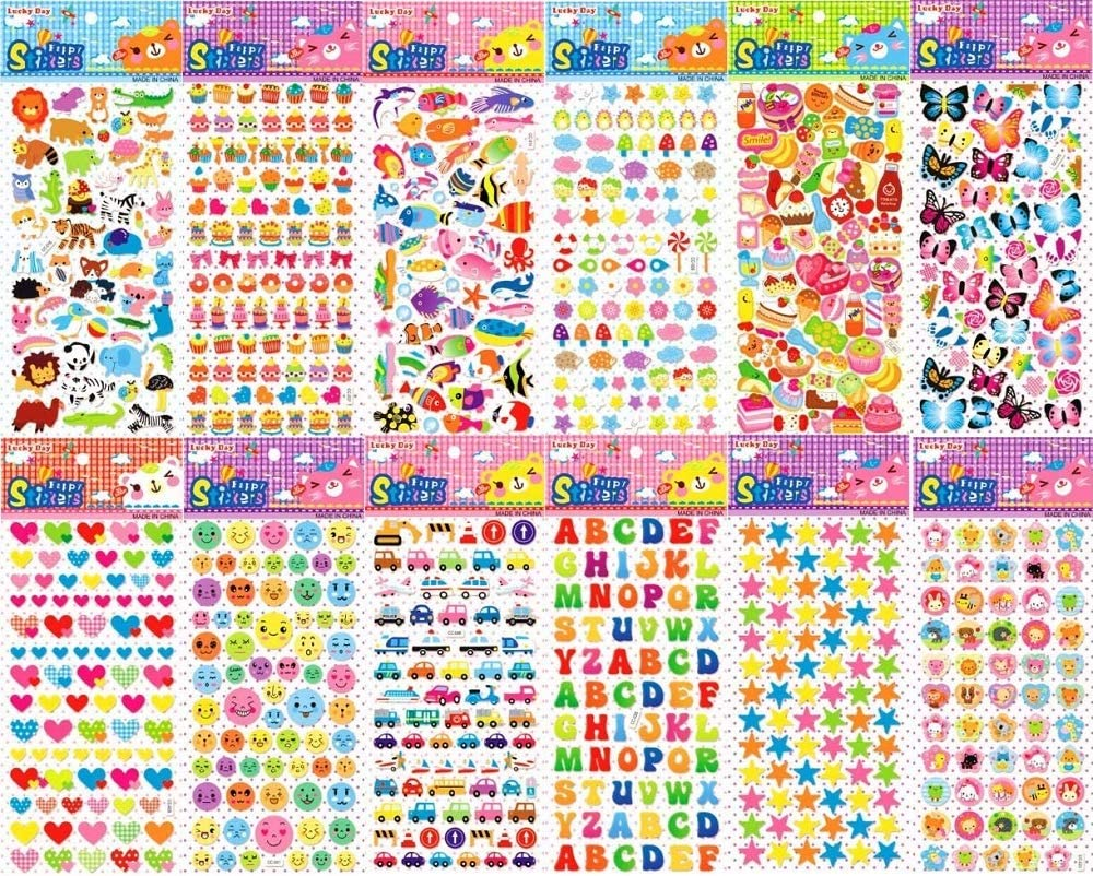 Kids Stickers(1000), 12 Different 3D Puffy Sticker- Boys and Girls Scrapbooking- Animals, Cars, Food, Pets, Butterflies, Smiling face, Alphabet and More!